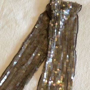 Sequined Taupe Scarf